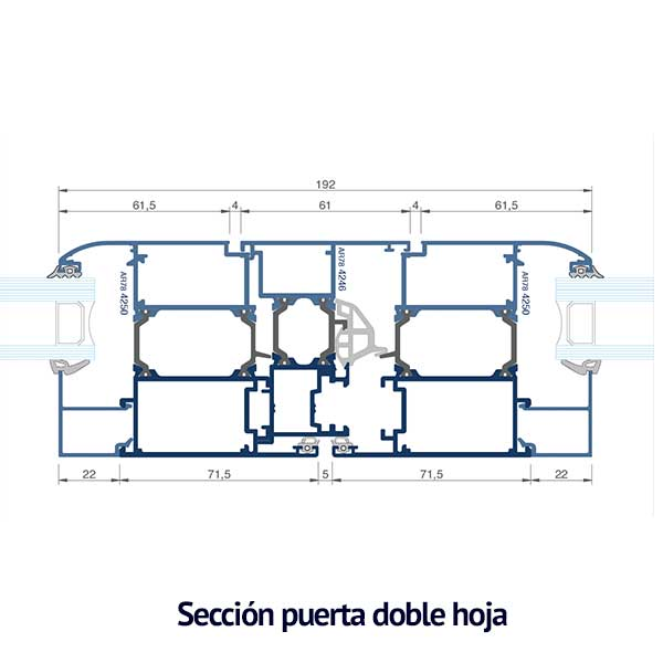 seccion puerta doble