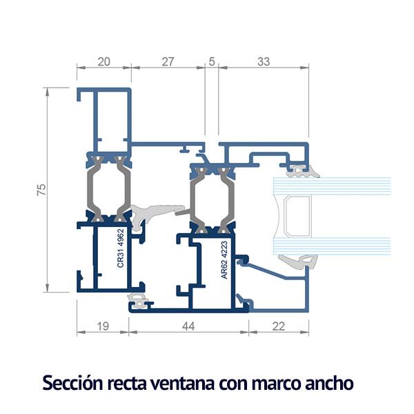 seccion recta con marco ancho