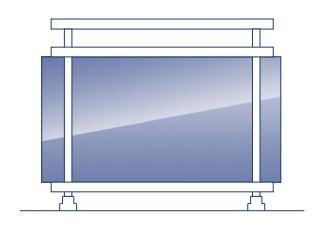 barandilla acristalada sin marco