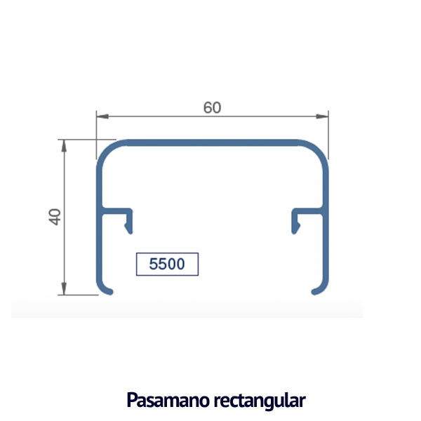 pasamano rectangular